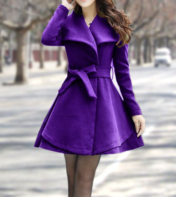 Women's Winter Coats Purple Jackets Wool Capes Spring Long Cape ...