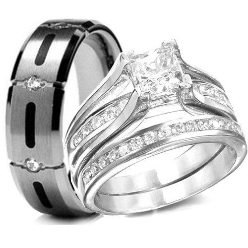His Hers 3 Pieces 925 Sterling Silver Titanium Engagement Wedding Rings Set You Can Find Out More Deta Wedding Ring Sets Cool Wedding Rings Wedding Rings