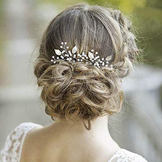 Amazonsmile Yean Silver Bridal Hair Pins Bride Wedding Pearl Leaf Hair Accessories For Wome Wedding Guest Hairstyles Flower Girl Hairstyles Short Wedding Hair
