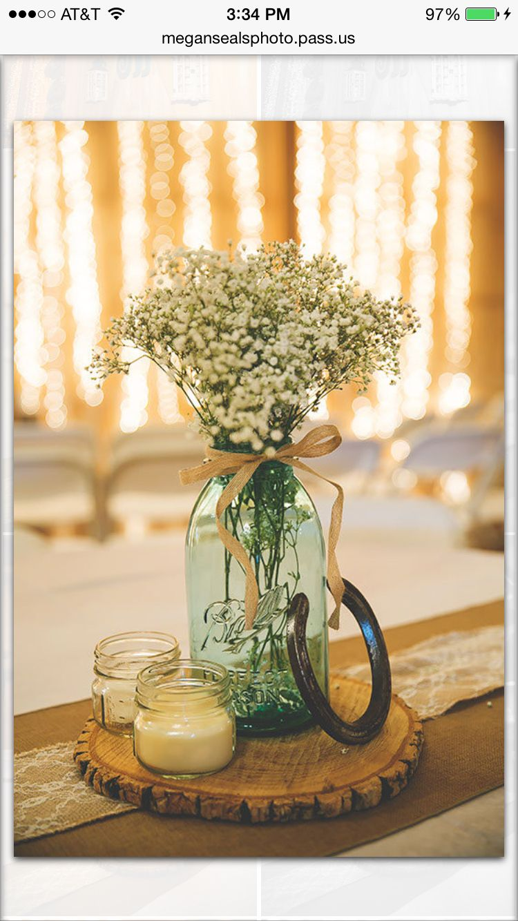 Some of my centerpieces at wedding horse shoe was a