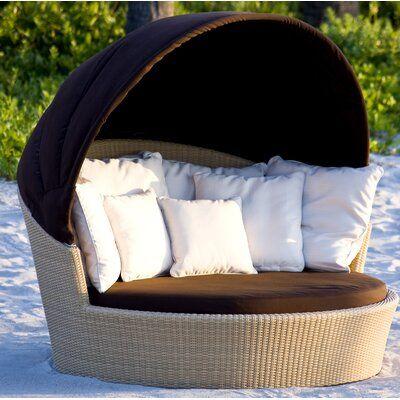 Neoteric Luxury Casablanca Patio Daybed with Sunbrella Cushion Color: Pure White, Fabric: Sunbrella Canvas Natural #purewhite