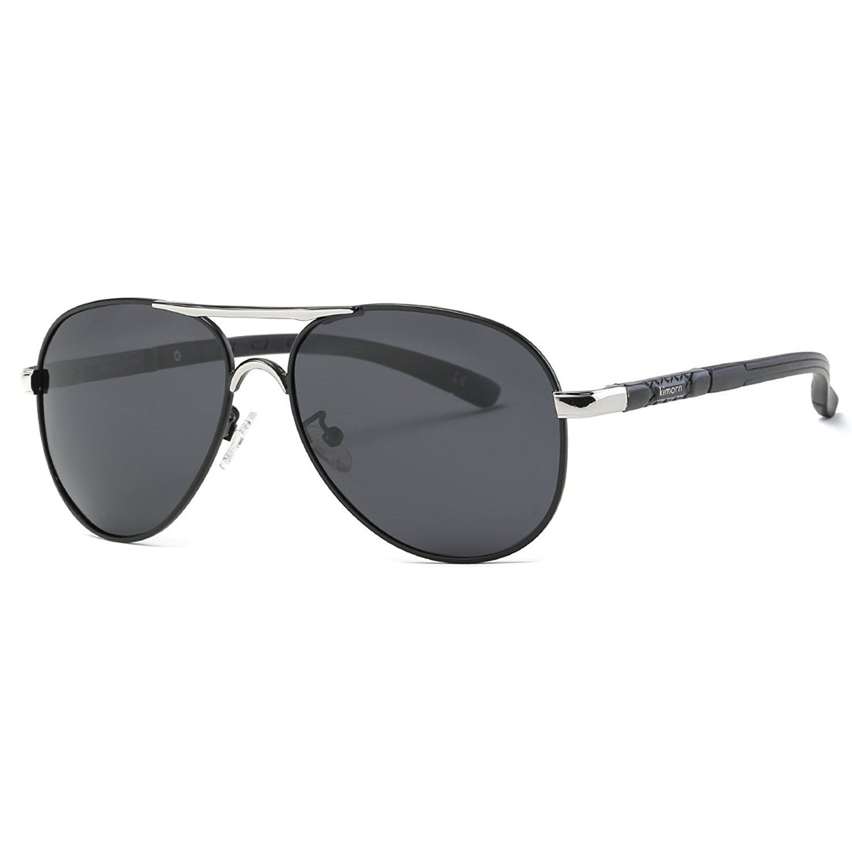1378183ef0 Polarized Sunglasses For Men Pilot Style Metal Frame Retro Sun Glasses  K0553 - Silver black - CS187A8MMCY