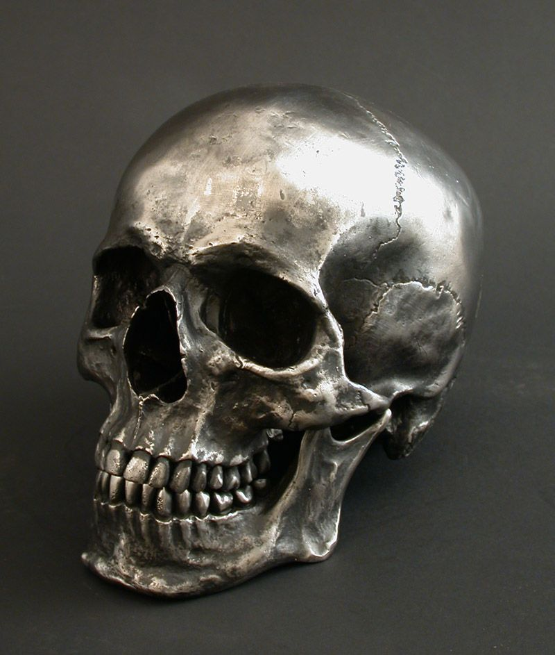 Skull sculpted in Stainless Steel, oil blackened and highlighted ...