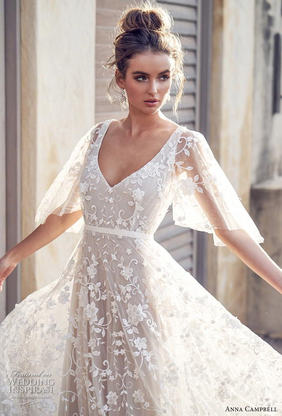 Lace wedding dress with back out january 2019 Anna Campbell  Wedding Dresses u ucWanderlustud Bridal Collection
