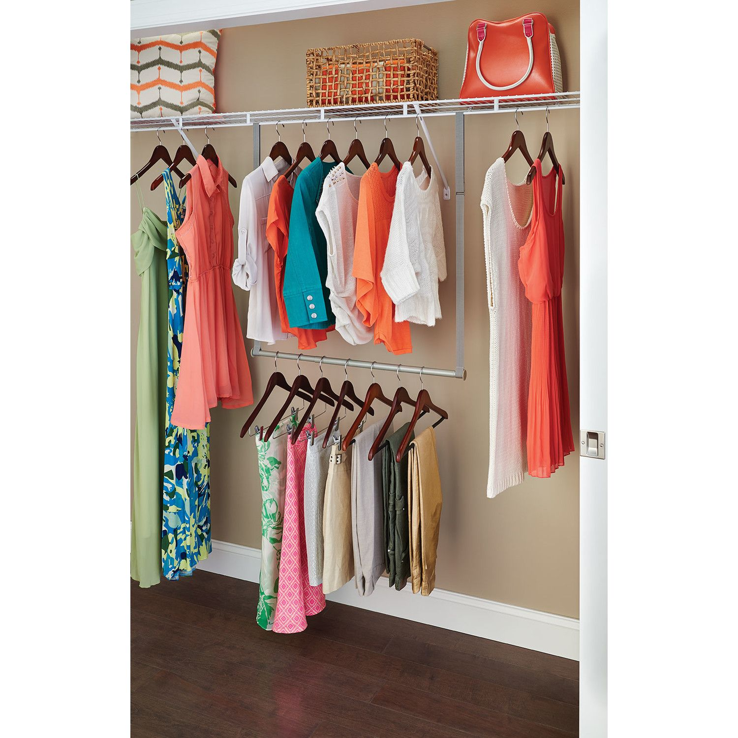 Double Closet Rod Height Prepossessing Features Double Hang Rod Can Retrofit Existing Closets To Add Two Inspiration