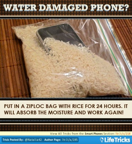 Water Damaged Phone? A bag of rice can save your phone.