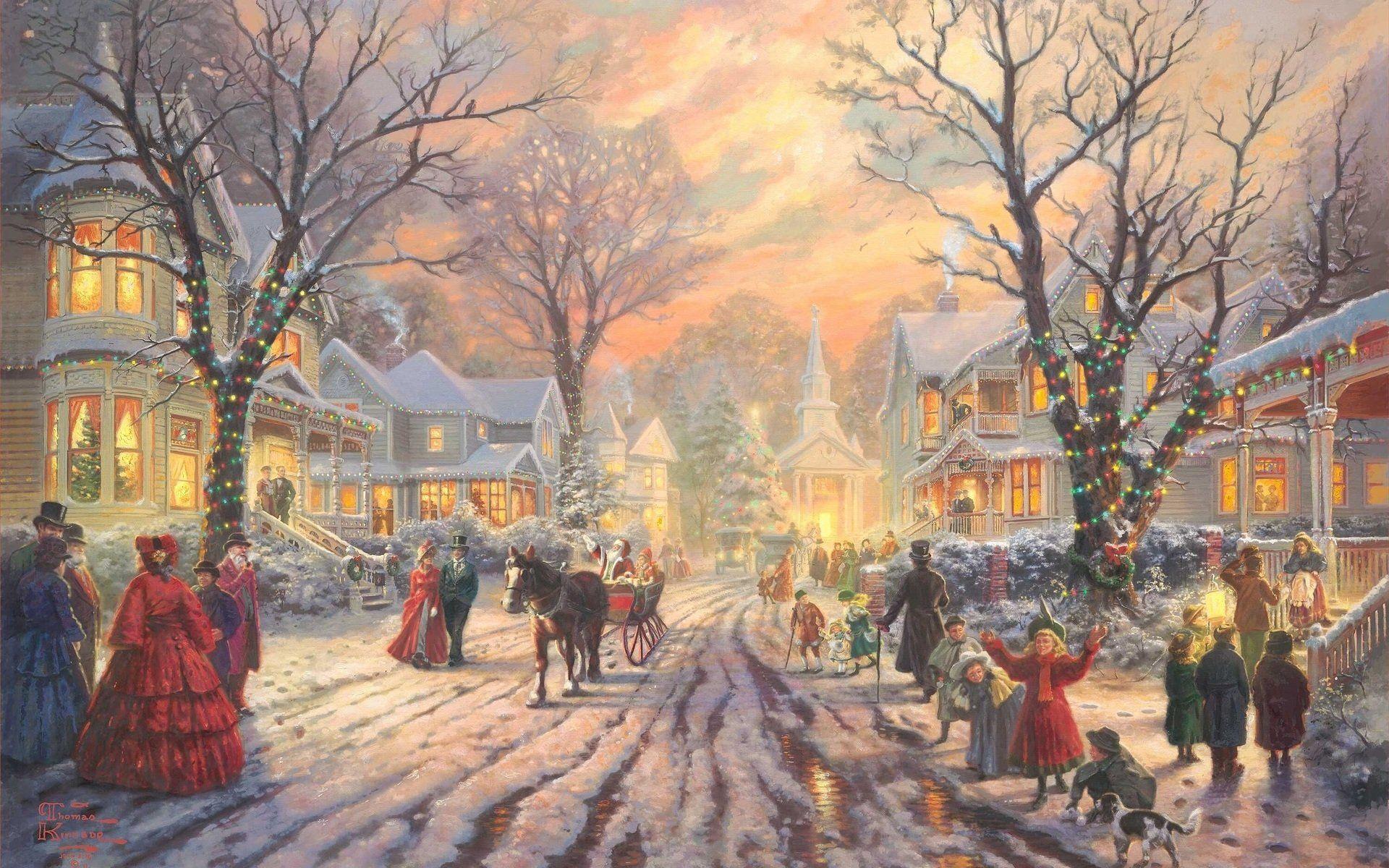 Holiday Christmas Village Painting Christmas Lights Santa Wallpaper ...