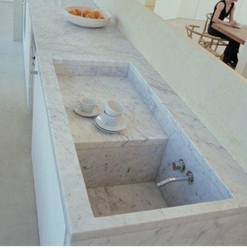 Trend Alert 8 Integrated Marble Kitchen Sinks Remodelista Kitchen Marble Beautiful Kitchens Stone Countertops Kitchen