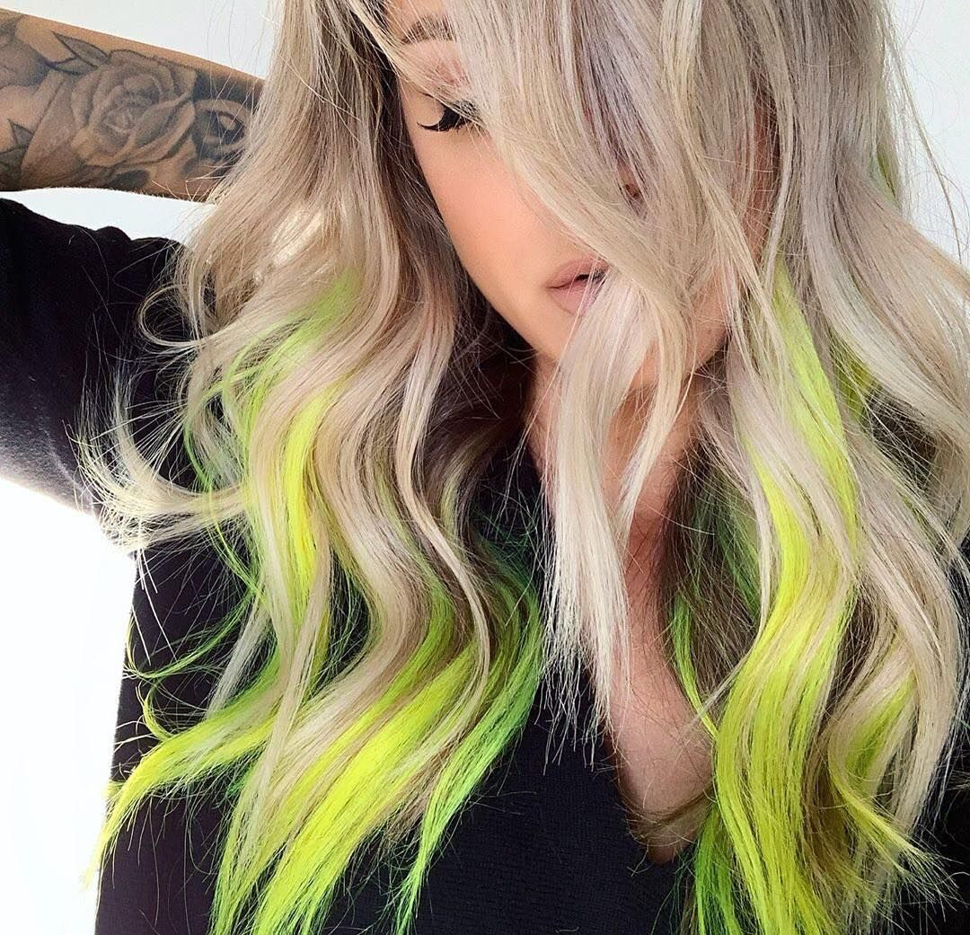 Neon Blonde By Emilyboulinhair Pravana Neonhair Neon Hair Highlights Neon Hair Funky Blonde Hair