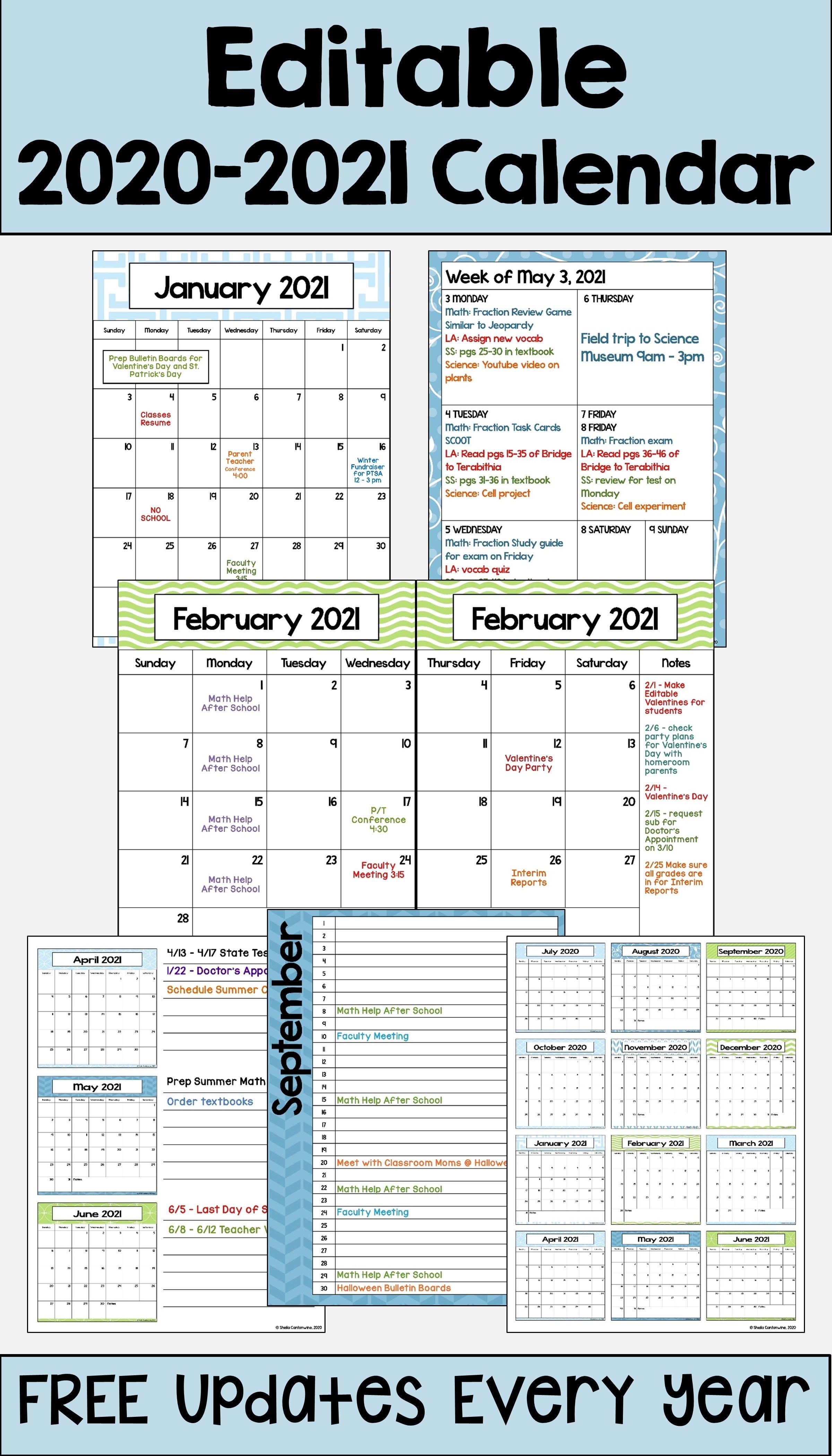 20202021 Calendar Printable and Editable with FREE
