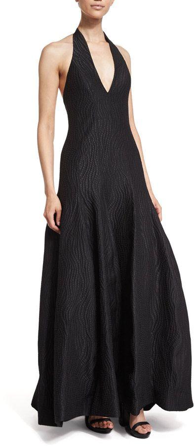 Halston Heritage Deep-V-Neck Tulip Gown, Black