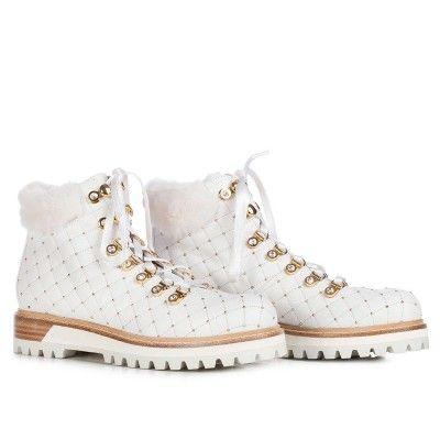 LE SILLA Trekking Boot In Chiffon, Soft Calfskin In Paper Colour H.40 Mm. #lesilla #shoes #boots