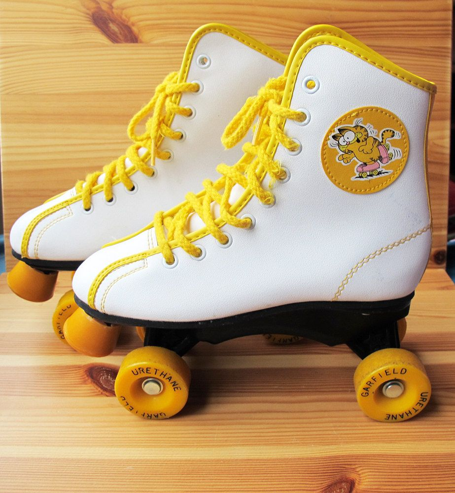 Roller Skate Sneakers >> 70s Garfield 1978 White and Yellow Roller Skates for Kids, Size 1. $35.00, via Etsy. | Childhood ...