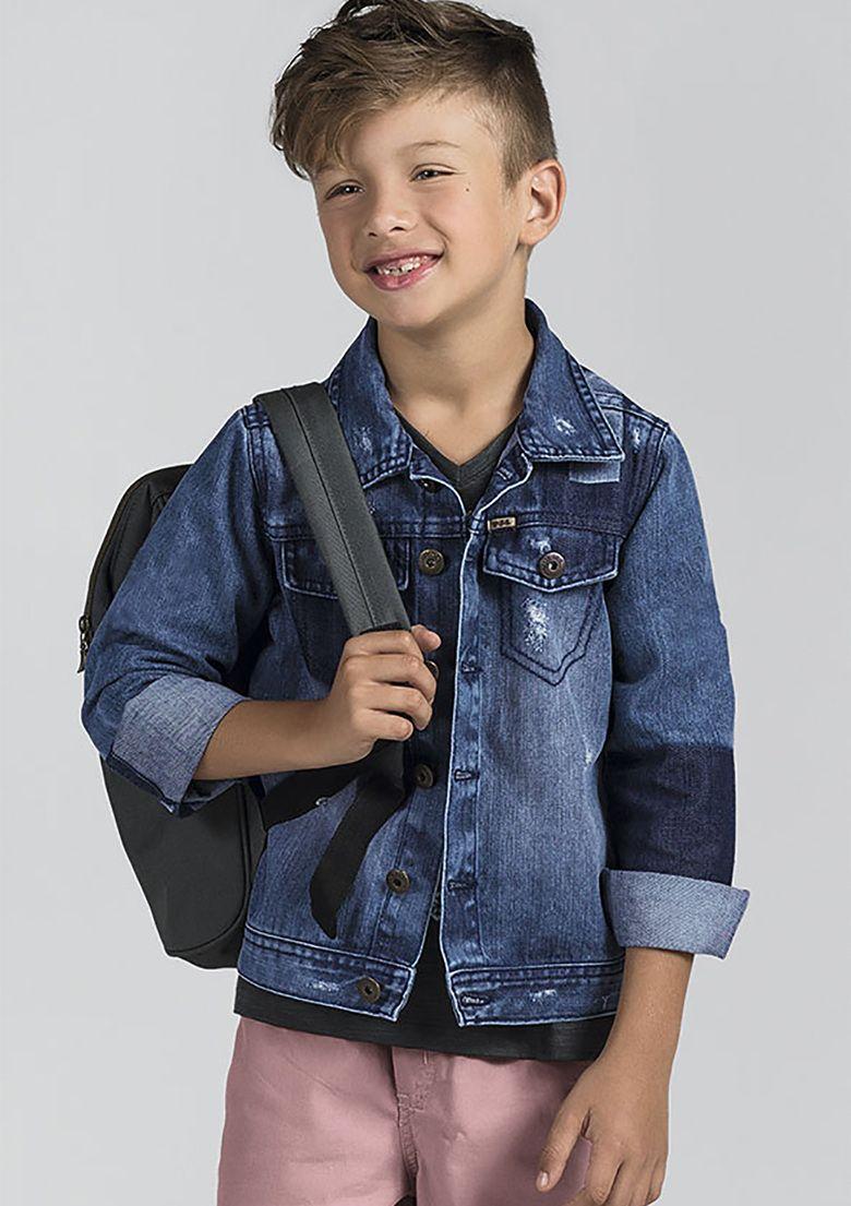 7544ed209 Jaqueta Jeans Infantil Menino Com Lavação Moderna E Efeito Destroyed ...