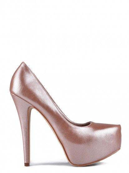Дамски обувки на висок ток TENDENZ - шампанско  644a04ca891