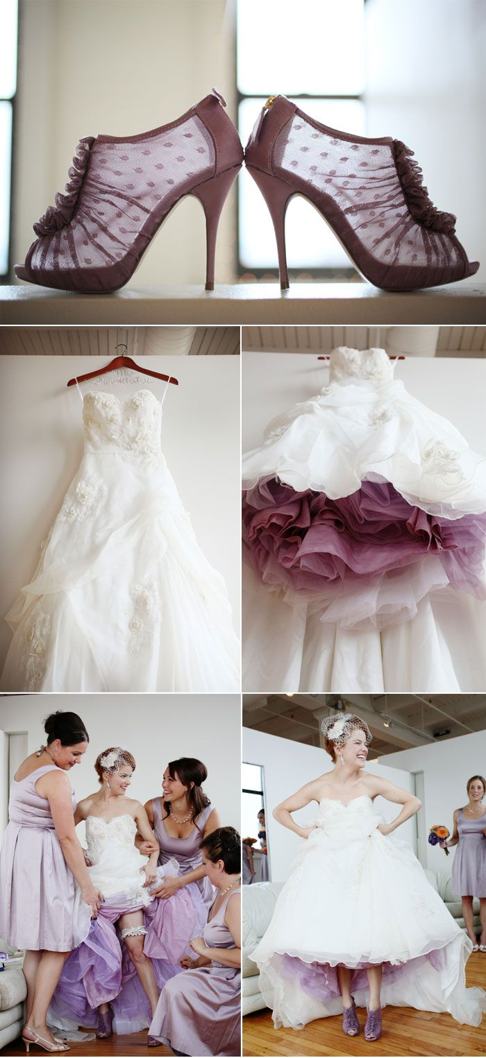 The bride had her tulle underskirt tinted lavender to match her ...