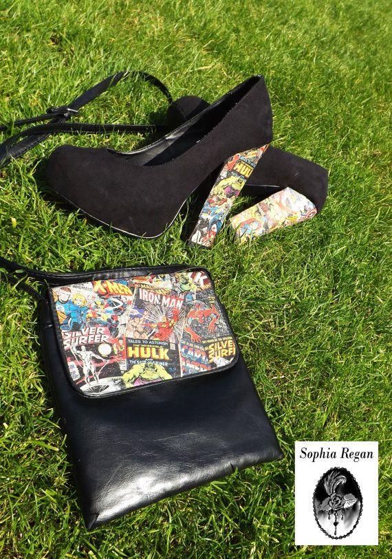 Decoupage Shoes UK Size 5 Wedding High Heels Upcycled Pinup Chunky Marvel on Etsy, $50.00