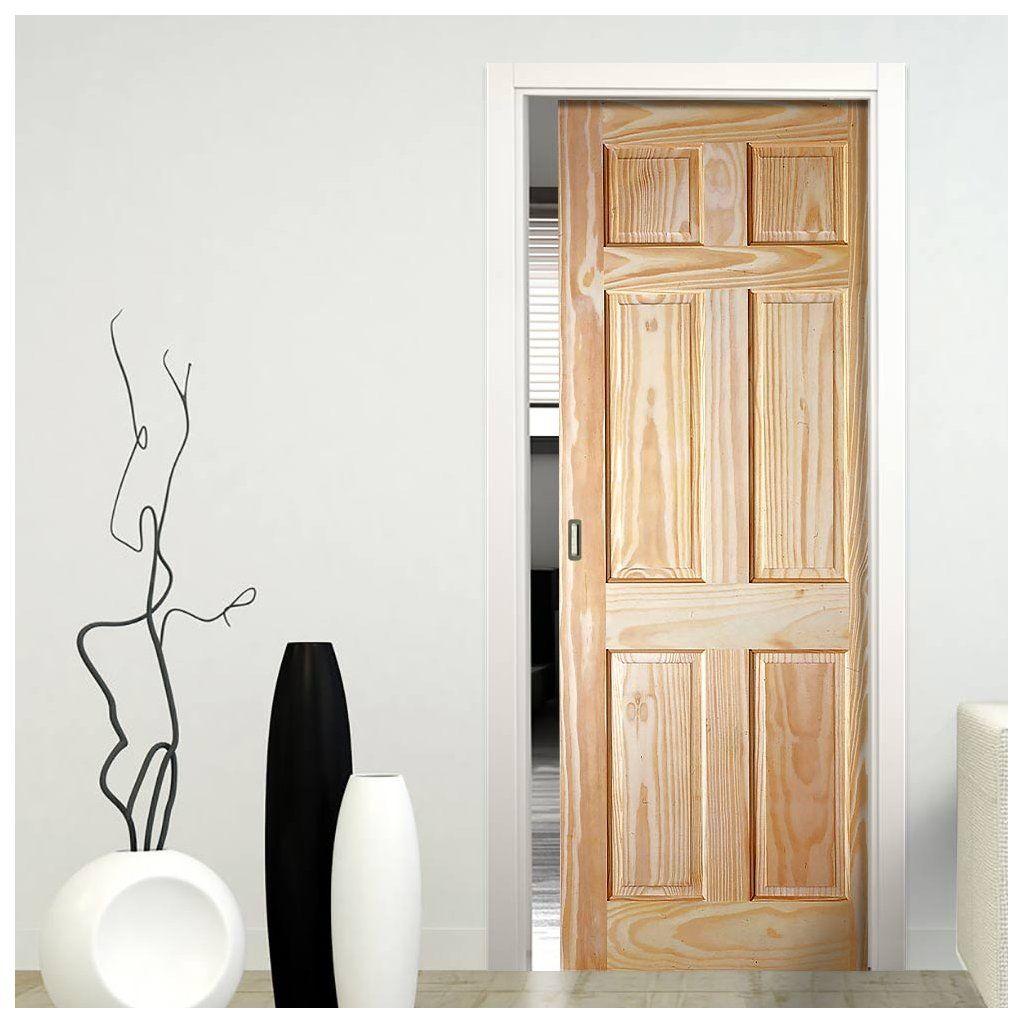 Single Pocket 6 Panel Pine Door With Raised Fielded Panels Pocket Doors Bathroom Pocket Doors Pocket Door Frame