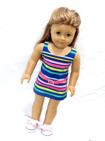 Trendy Striped Knit Mini Dress for American Girl Doll | Pinterest