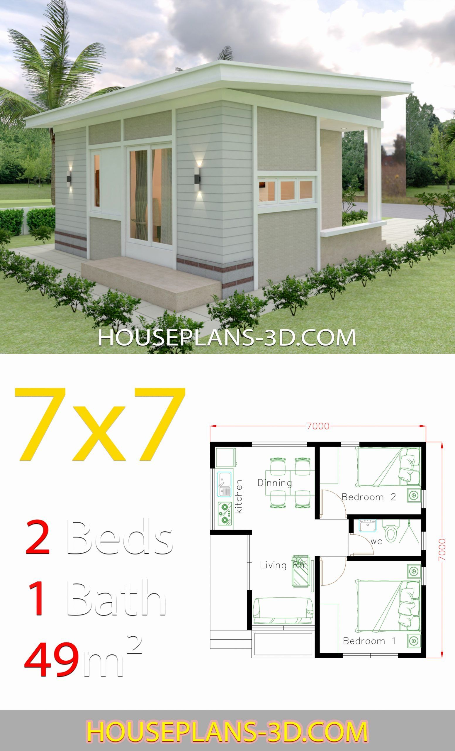 Two Bedroom House Design Pictures Lovely Small House Design Plans 7x7 With 2 Bedrooms Hous Small House Design Plans Two Bedroom House Design Small House Design