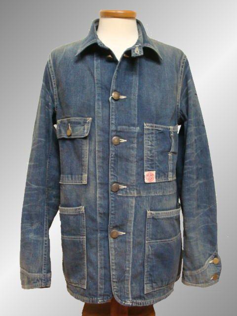 Head Light Work Coat Vintage Denim Denim Jacket Workwear Fashion Work Coat