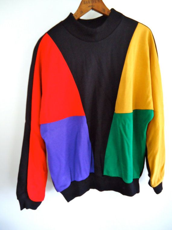 80s Vintage Sweatshirt Color Blocked Geometric By