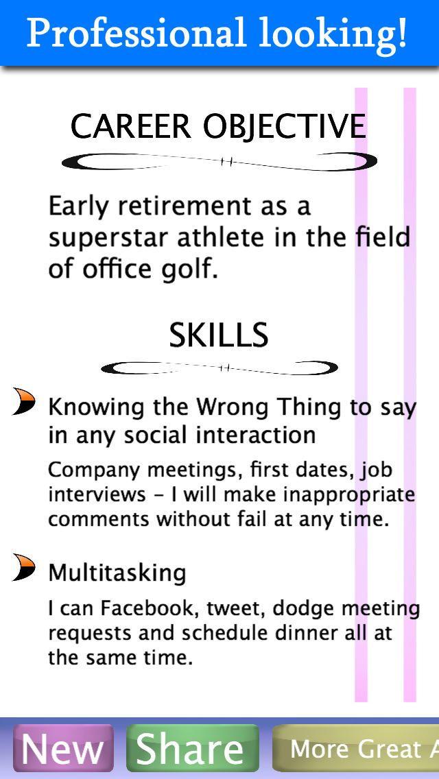 Wacky Resume app Resume\/CV Apps Pinterest - resume app