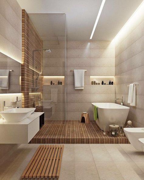 Salle de bain moderne - bois et blanche, éclairage Led, vasque et