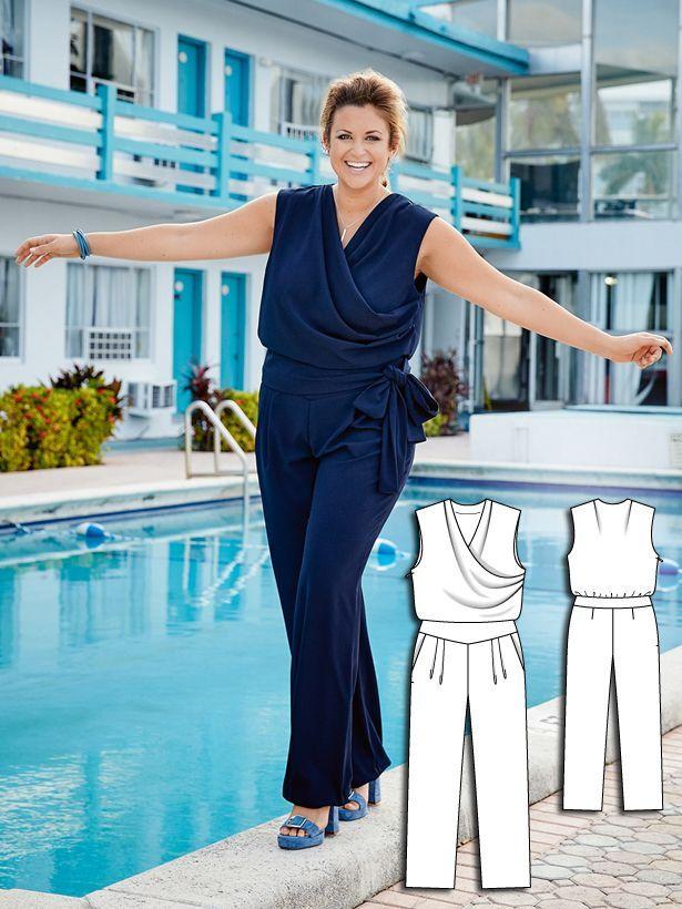 Cocktail Jumpsuit (Plus Size) 04/2016 #130B | Schnittmuster, Nähen ...