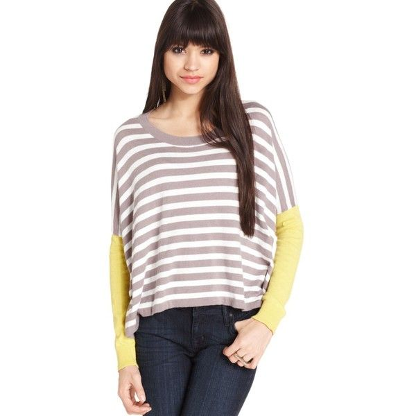 BCBGeneration Sweater, Long-Sleeve Scoop-Neck Colorblocked Striped Top ($45) ❤ liked on Polyvore