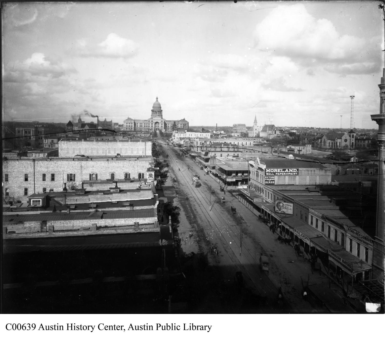Aerial view of Congress Avenue looking north from the