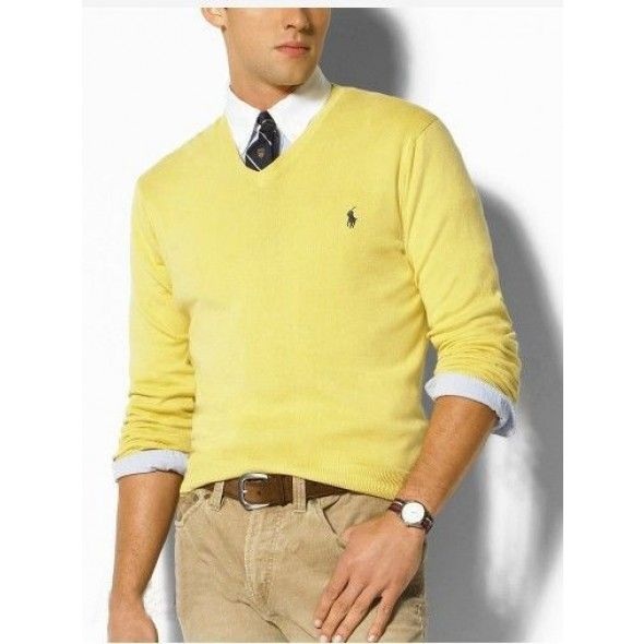 Ralph Lauren V Neck Sweaters Mesh Men Yellow http://www.ralph ...