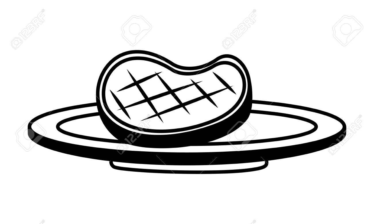 Meat Steak On Dish White Background Vector Illustration Illustration Ad Dish White Meat Steak Illu Meat Steak Vector Illustration White Background