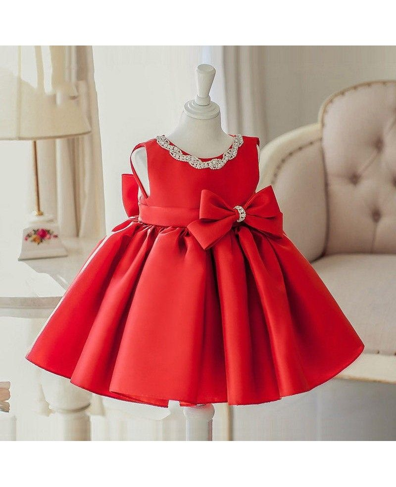 Simple red satin elegant flower girl dress with big bow for wedding