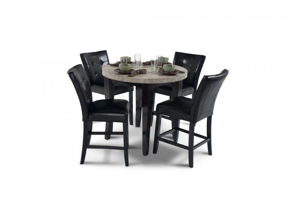 "Black Granite Dining Room Table Montibello 40"" Round Pub 5 Piece Set  Dining Room Sets  Dining"