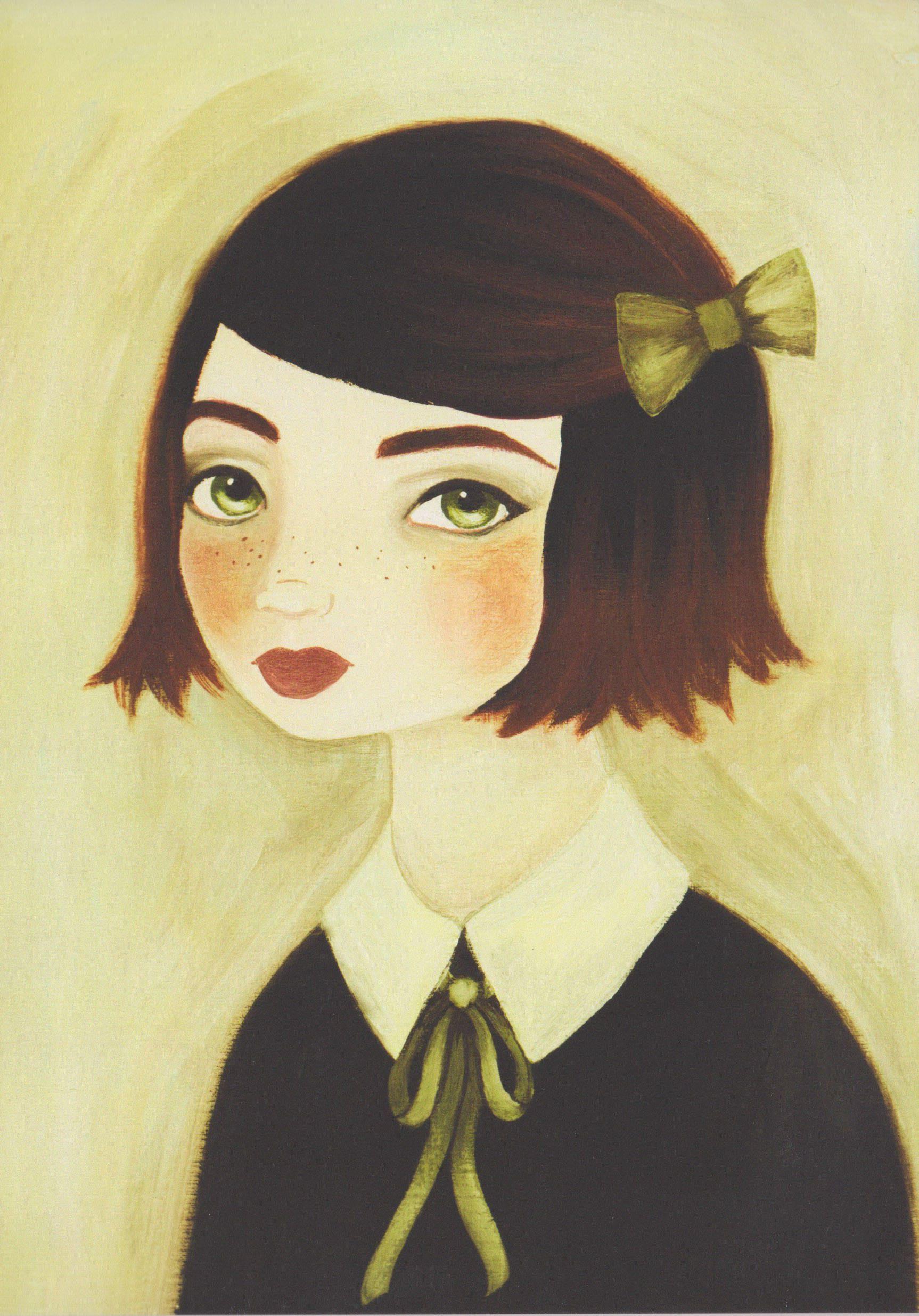 Girl Print, Portrait Painting, Vintage Style Wall Art, Redhead Print ...