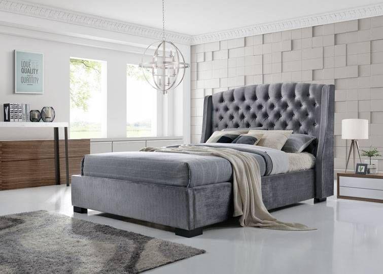 Brando Velvet Wingback Bed With Images Grey Bed Frame Bed