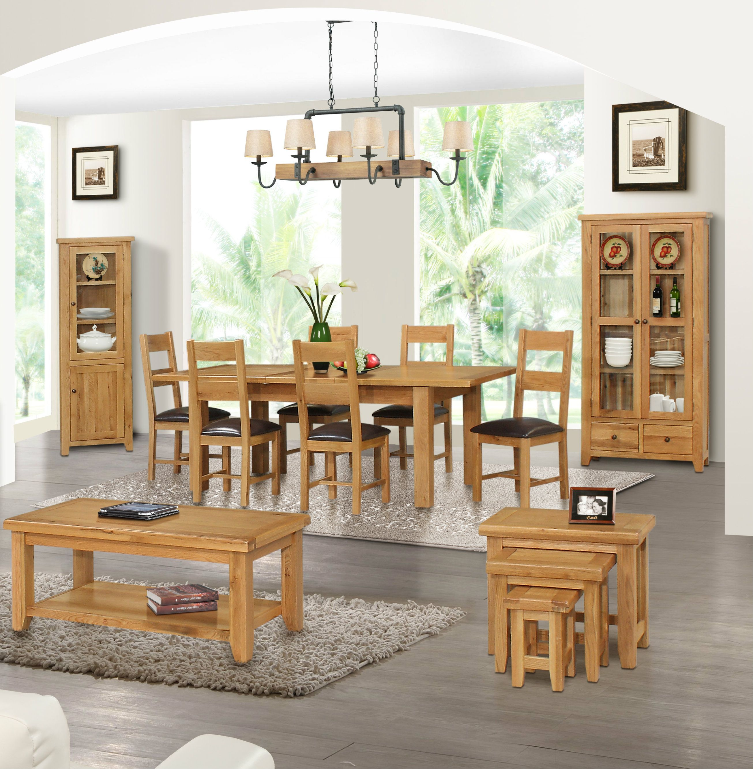 Otago Oak Coffee Table, Nest Of Tables, Display Cabinet And Dining Room  Table U0026