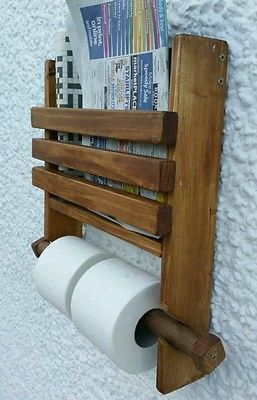 Details about Rustic wooden wall double toilet roll holder