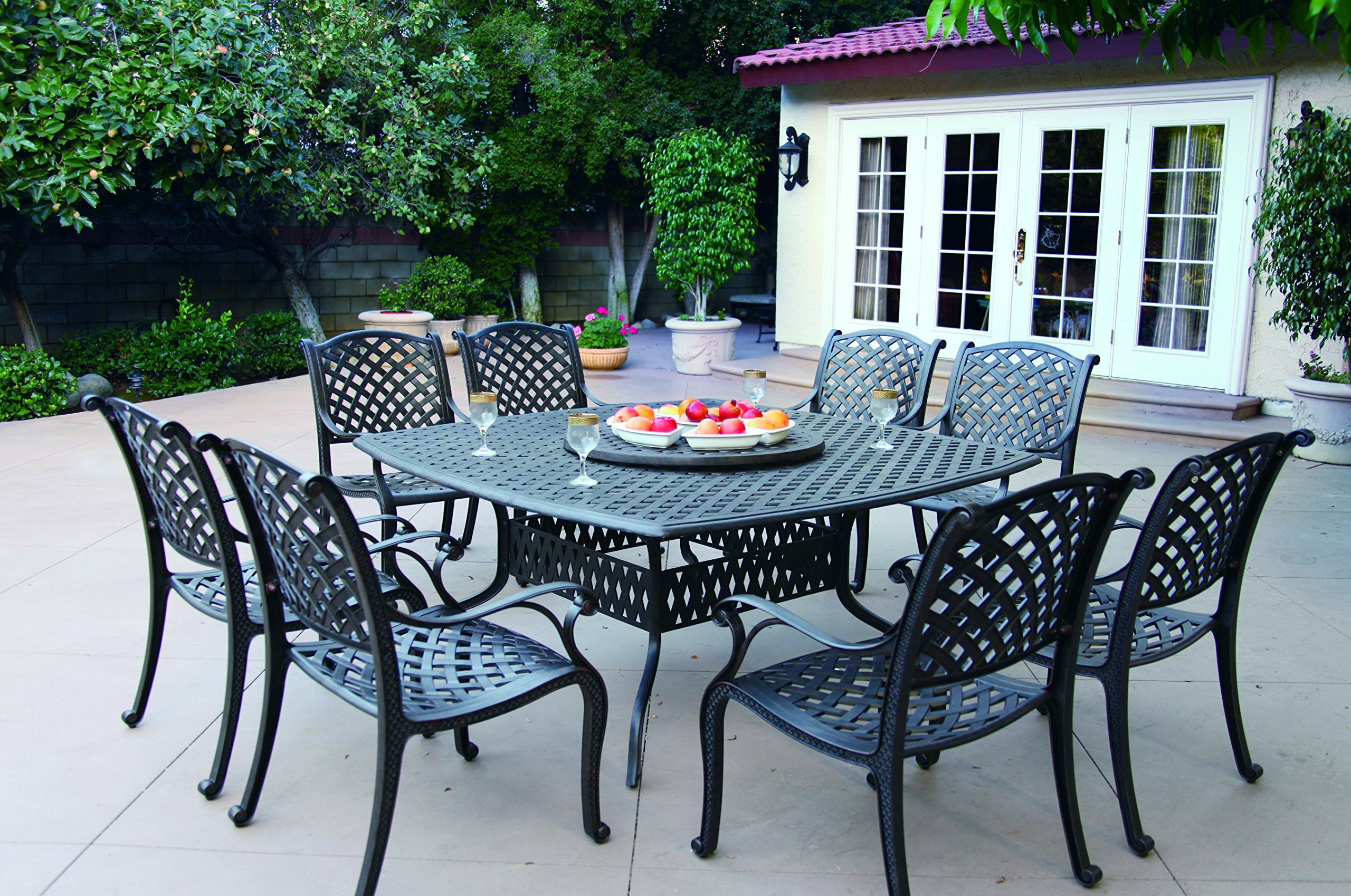 Darlee Nassau Cast Aluminum 10-Piece Dining Set with Seat Cushions ...