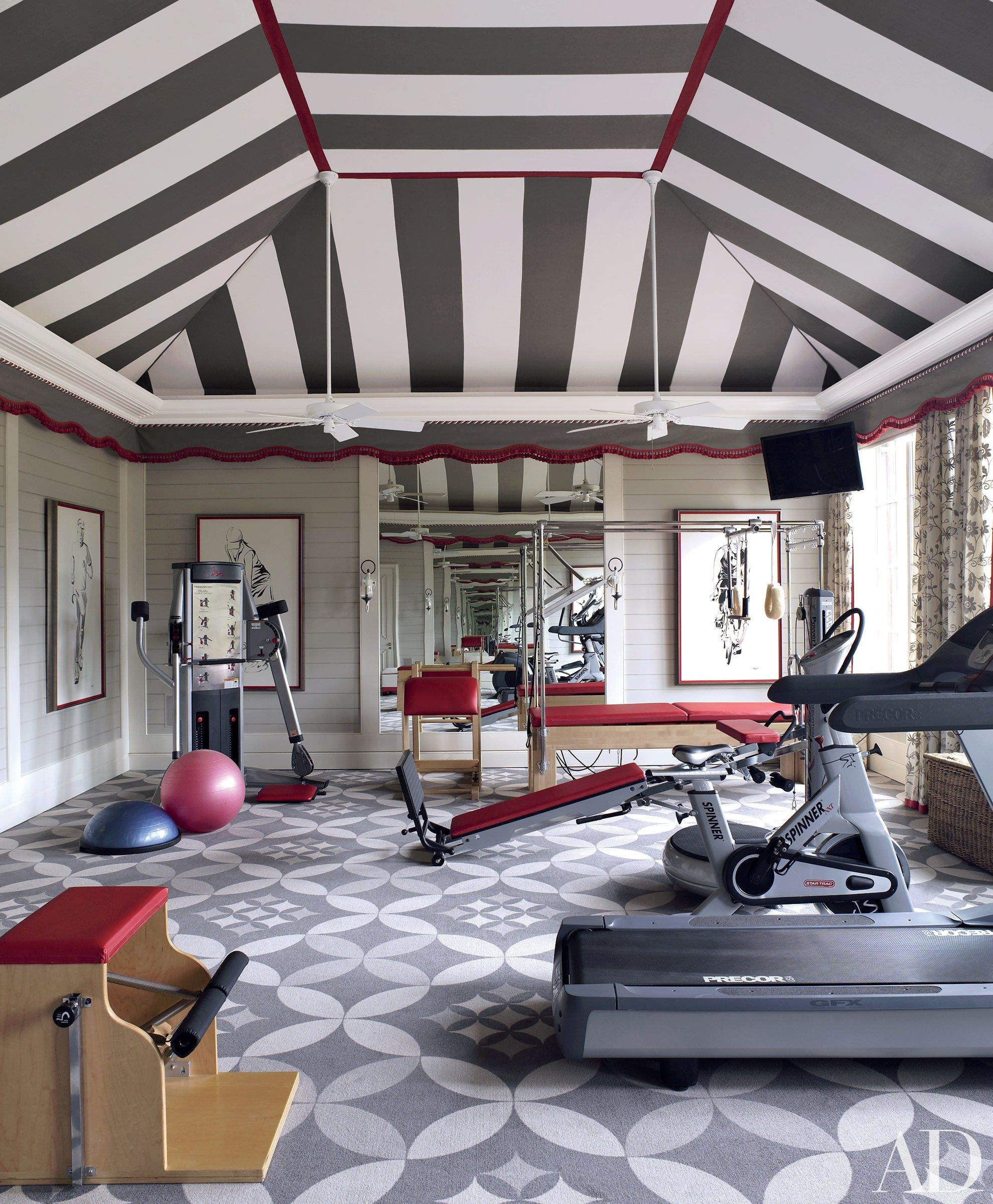 Statement Interiors By Richard Keith Langham Inc Home Gym Design Gym Room At Home Workout Rooms #treadmill #in #living #room #ideas
