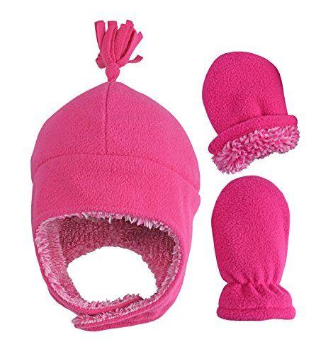 N Ice Caps Little Girls Baby Soft Sherpa Lined Micro Fleece Pilot Hat  Mitten Set (Fuchsia Infant 1 a19d1e21149d