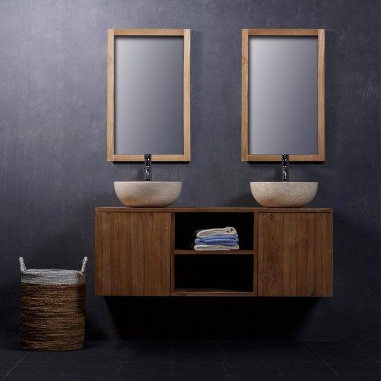 Meuble de salle de bain en bois de Teck suspendu 135 Architecture - teck salle de bain sol