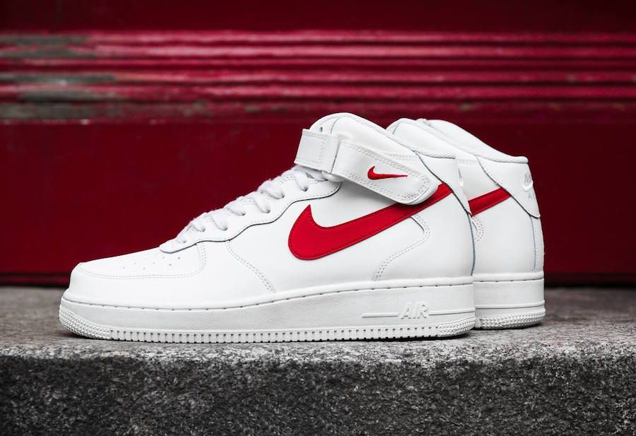 Nike Air Force 1 Mid 07 Sail University Red | Red sneakers
