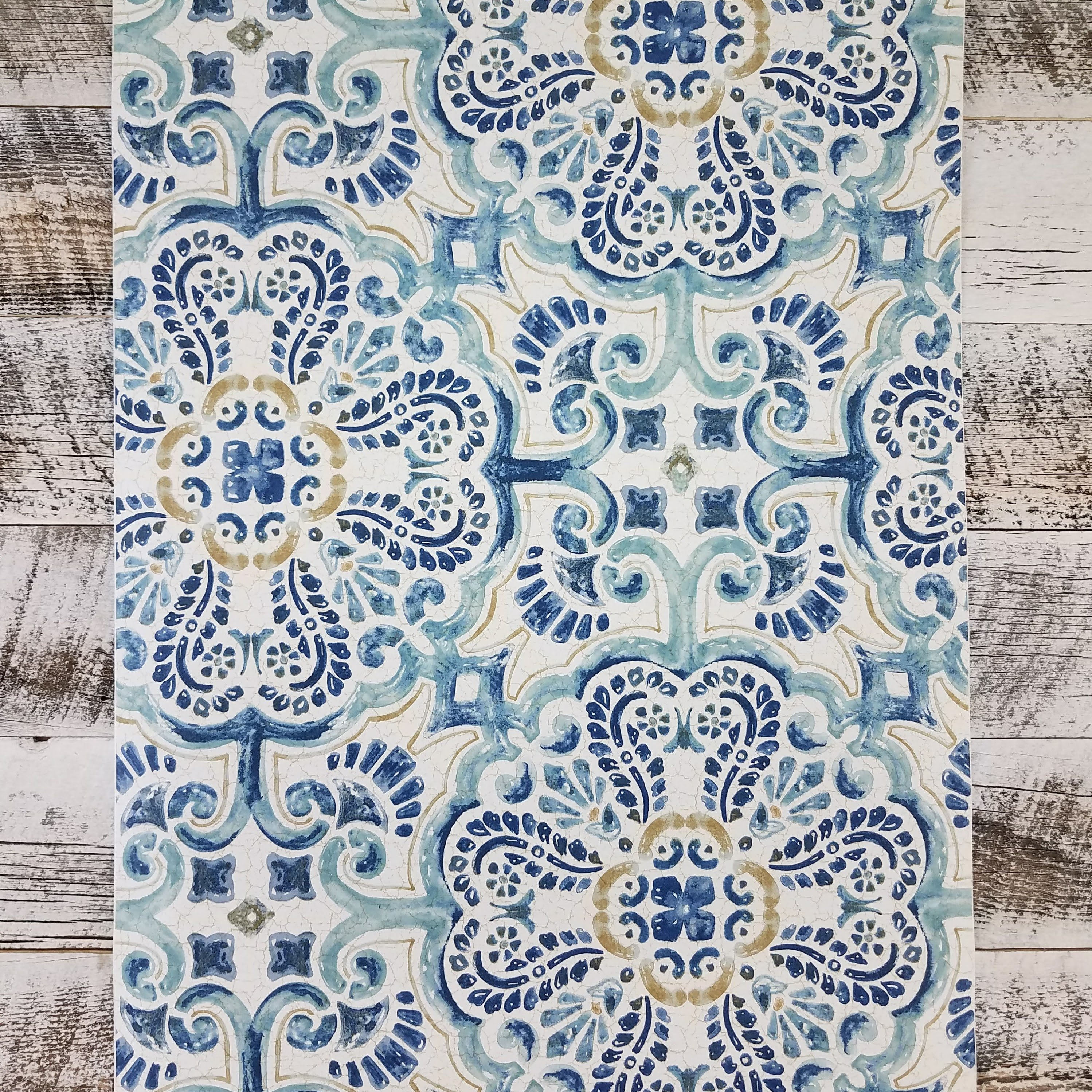 Blue Florentine Tile Peel And Stick Wallpaper Blue Peel And Stick Wallpaper Tile Wallpaper Vinyl Wallpaper
