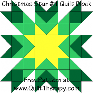 Christmas Star #1 Quilt Block Free Pattern at QuiltTherapy.com! #starquiltblocks