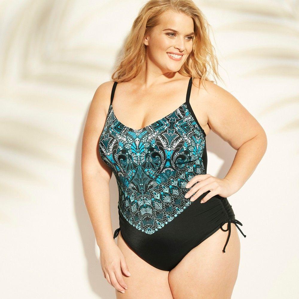 26ed78993a Women's Plus Size Halter Side Cinch One Piece Swimsuit - Aqua Green Blue Print  26W