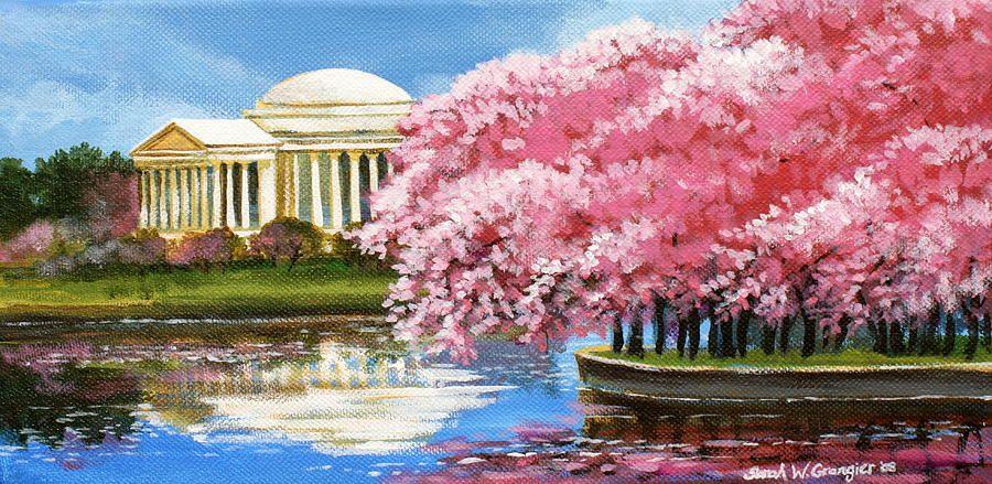 Cherry Blossom Festival By Sarah Grangier Cherry Blossom Painting Cherry Blossom Festival Festival Paint