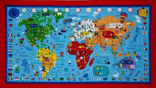 44 wide what a world map panel blue fabric by the panel by p b amazon 44 wide what a world map panel blue fabric by the panel gumiabroncs Gallery