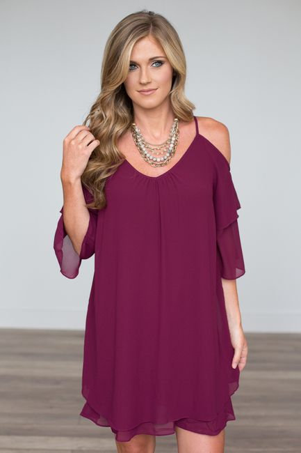 Shop our Vineyard Estate Cold Shoulder Dress. Plum cold shoulder dress featuring tie back closure and tiered bell sleeves! Free shipping on all US orders.